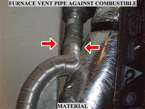 Improper clearance to combustibles